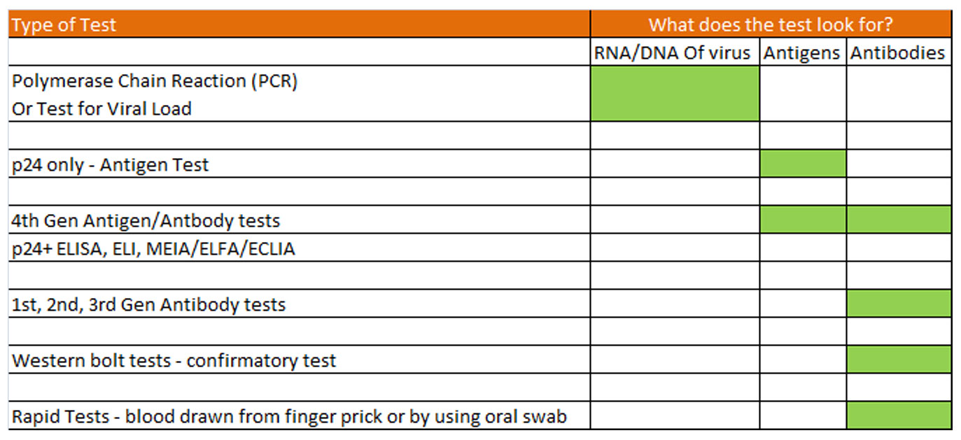 Types of HIV tests - what do hiv tests look for in the body